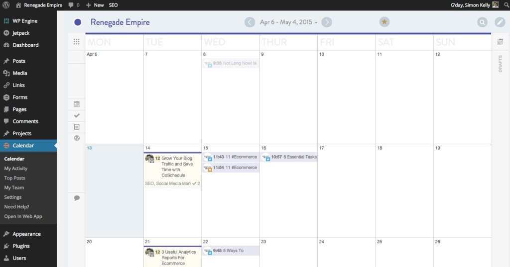 CoSchedule Editorial Calendar Renegade Empire